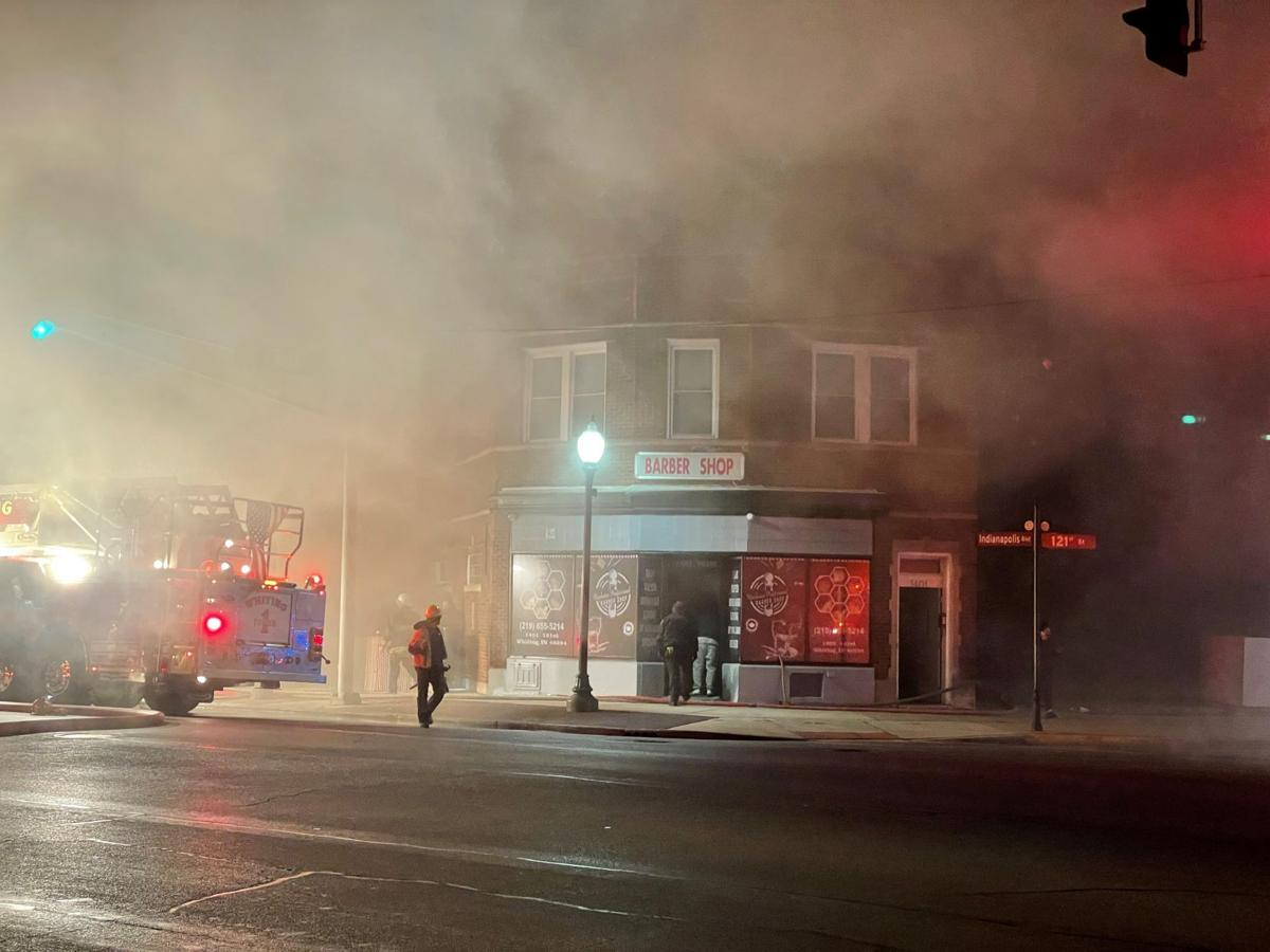 Firefighters work to extinguish Whiting blaze