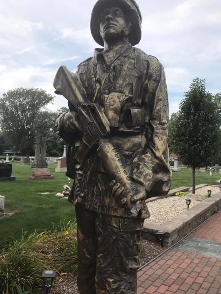 'It's a disgrace': Soldier statue vandalized in Crown Point cemetery, manager says