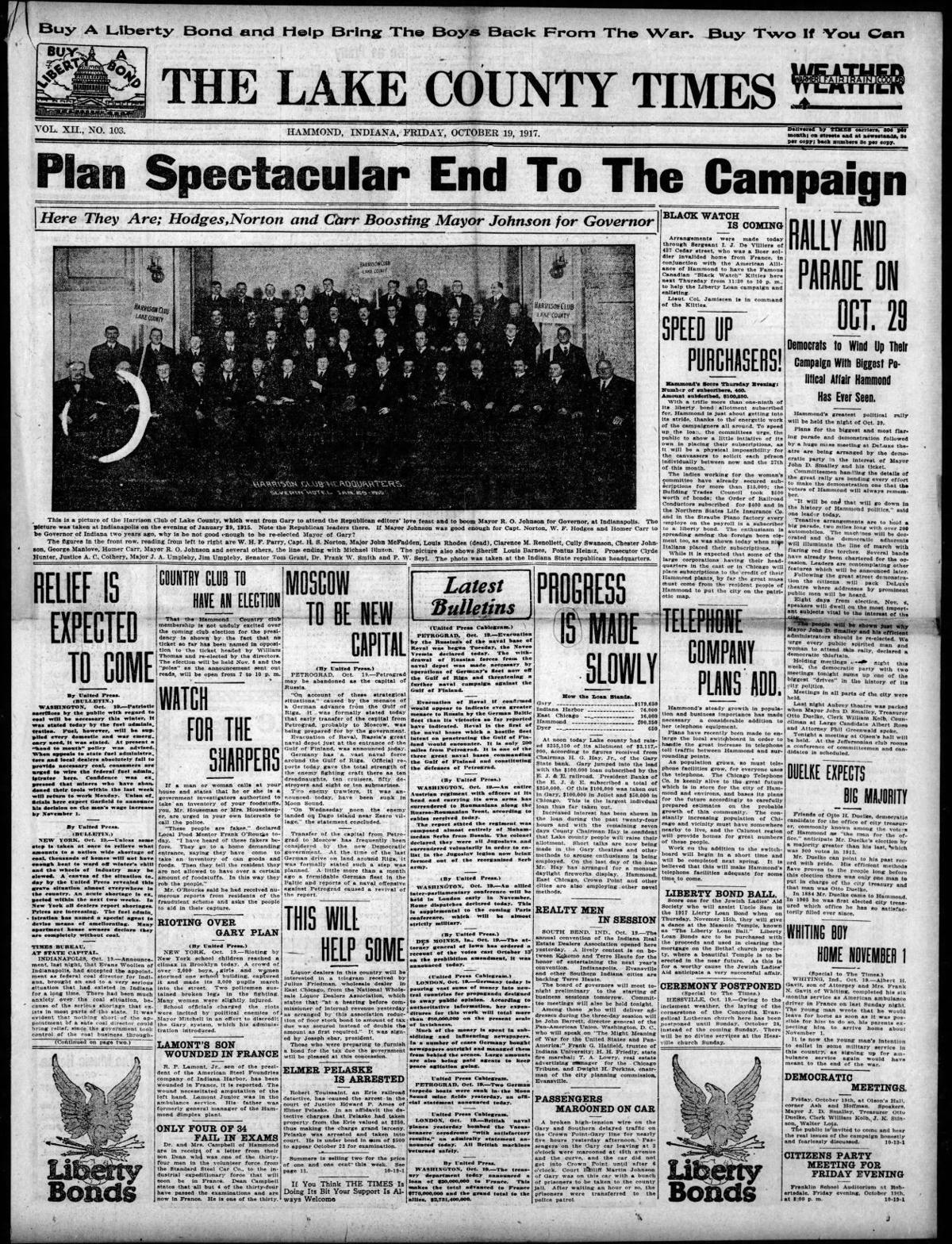 Oct. 19, 1917: Plan Spectacular End To The Campaign