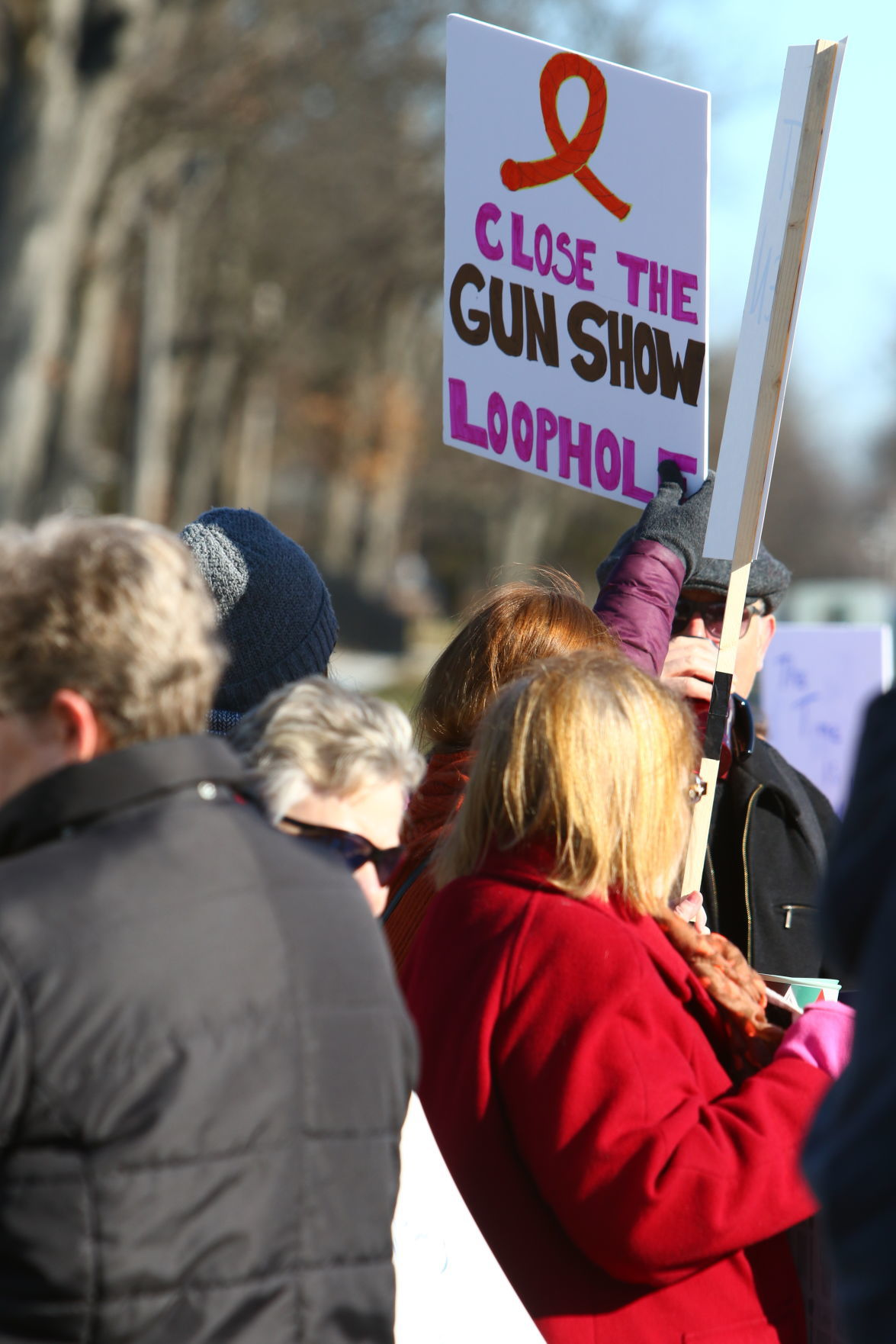Protest outside a March 3 gun show in Crown Point