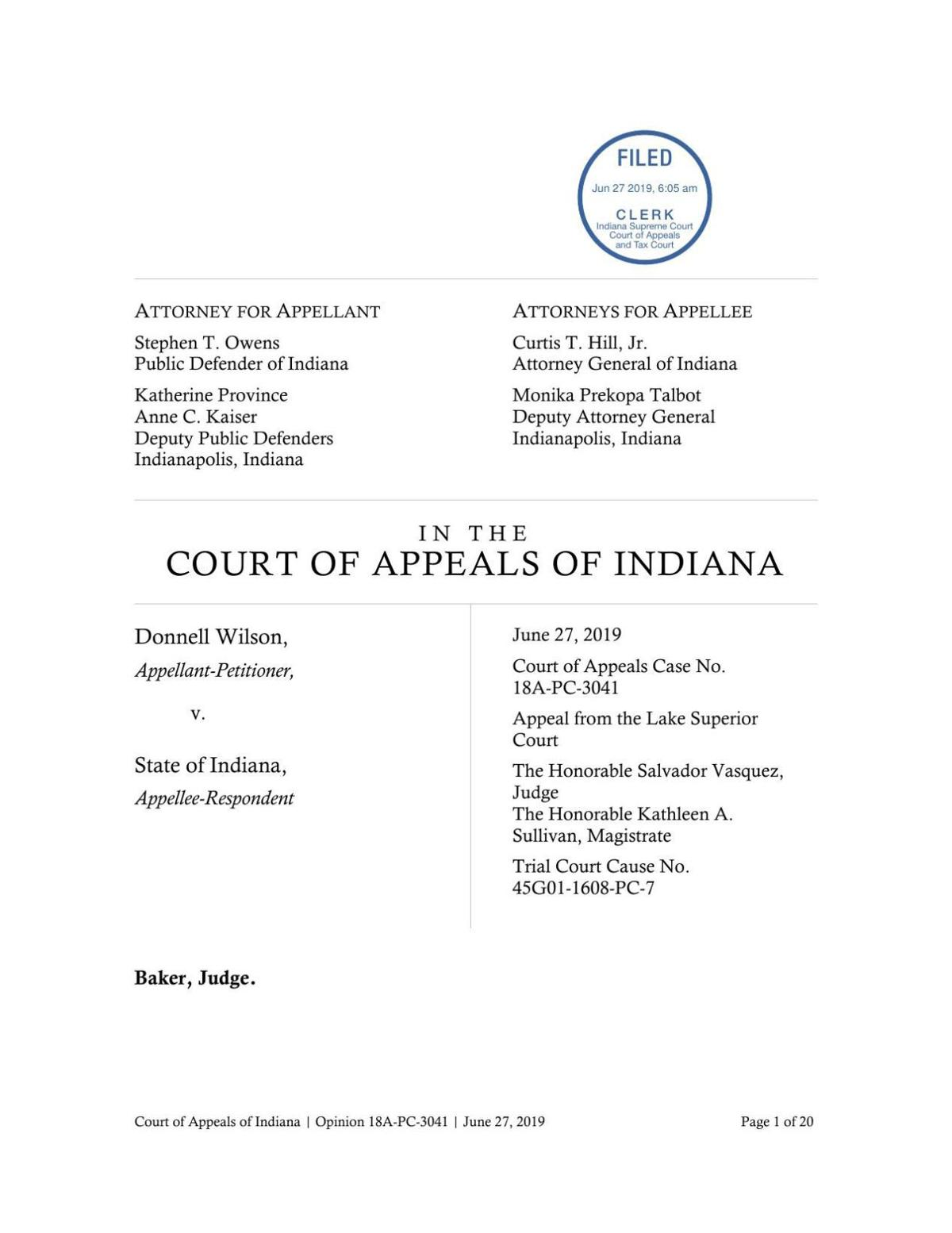Wilson v. State ruling of Indiana Court of Appeals