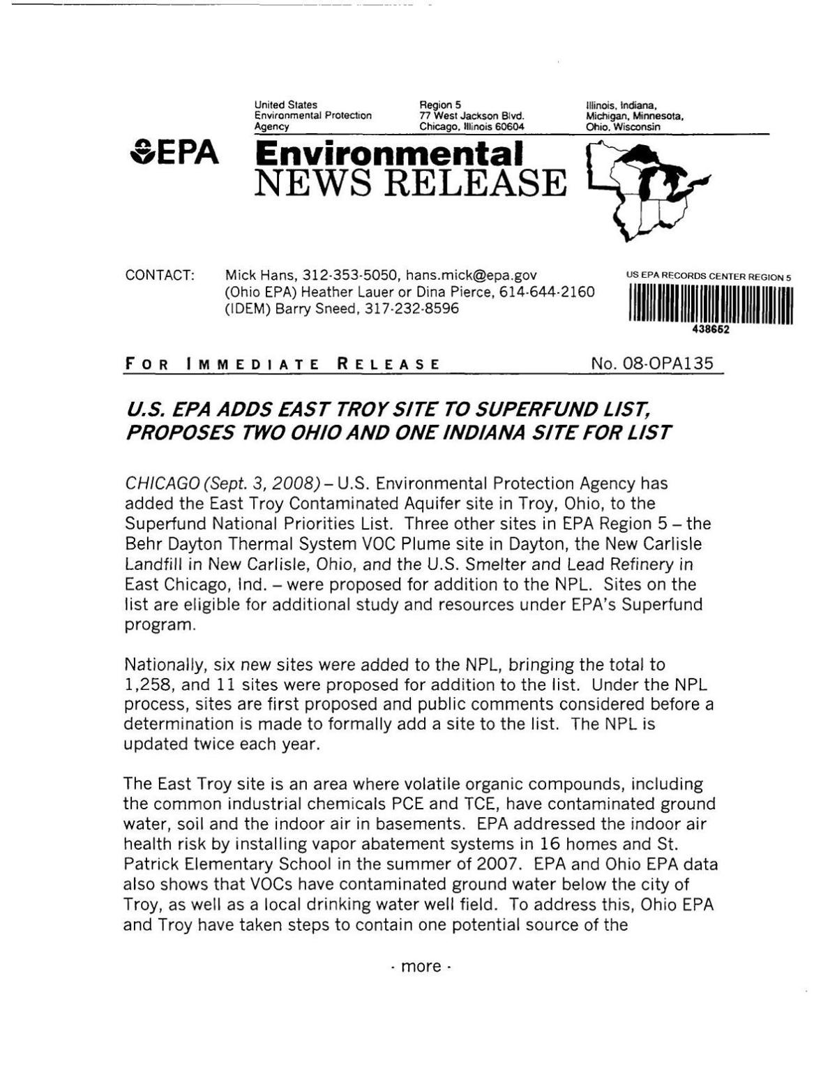 2008 EPA release on Superfund proposals