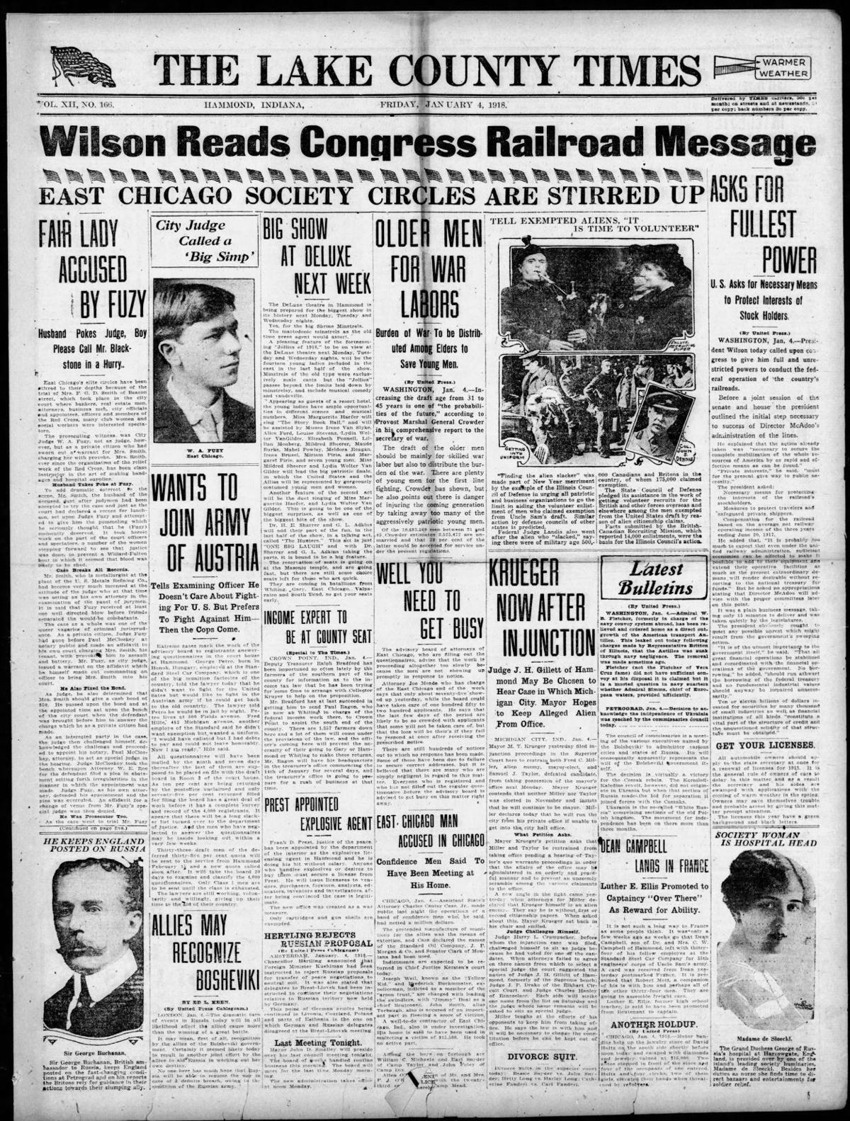 Jan. 4, 1918: Wilson Reads Congress Railroad Message
