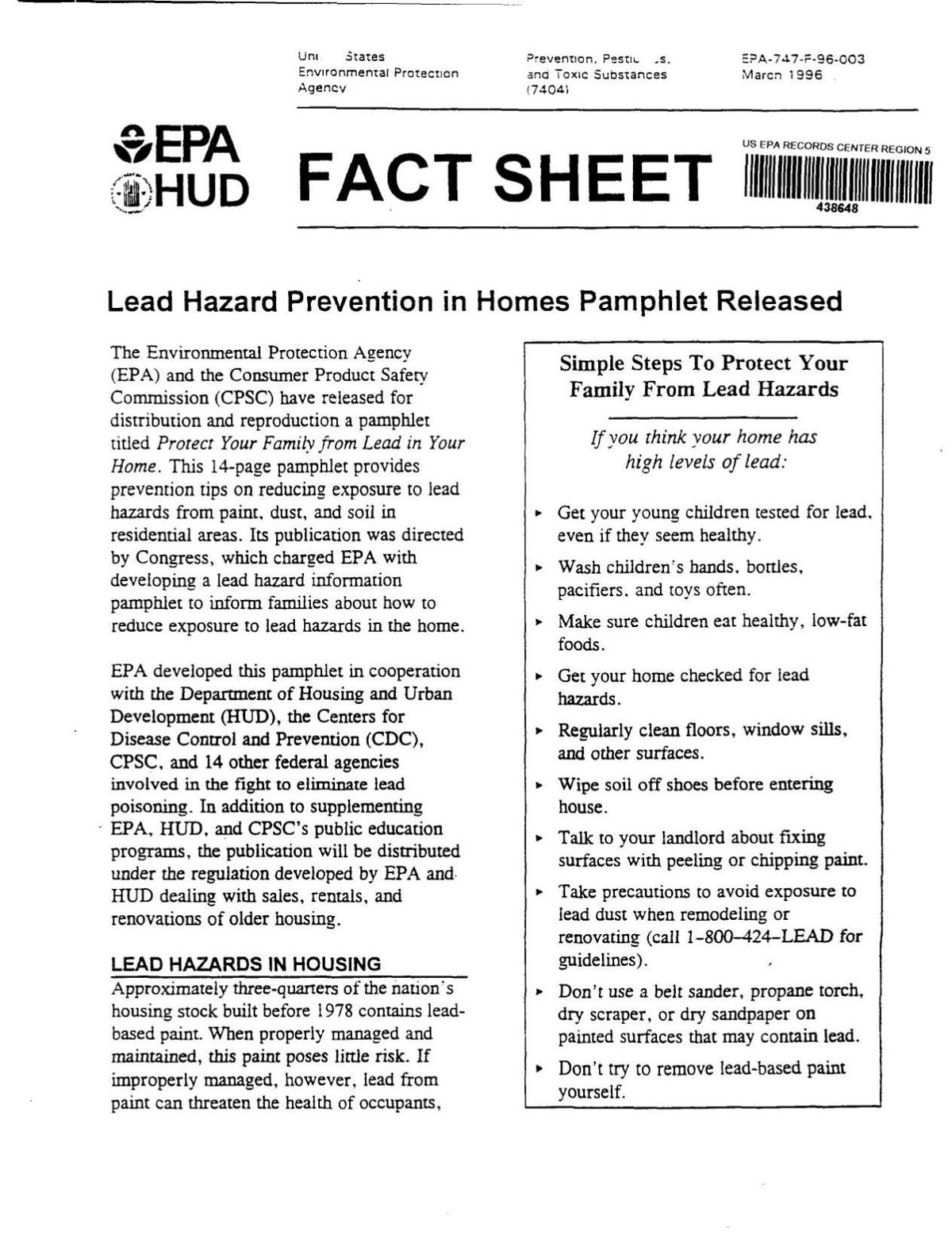 1996 EPA fact sheet on USS Lead