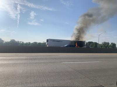 Semitrailer catches fire on I-65 in Merrillville, police say