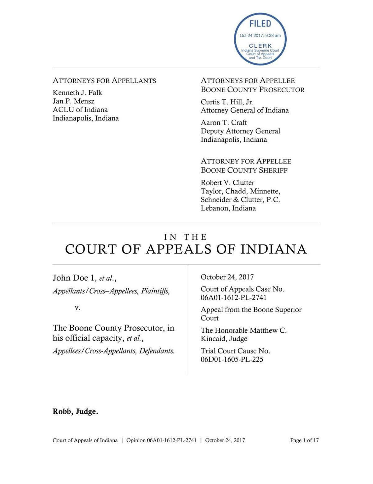 Doe v. Boone County ruling of Indiana Court of Appeals
