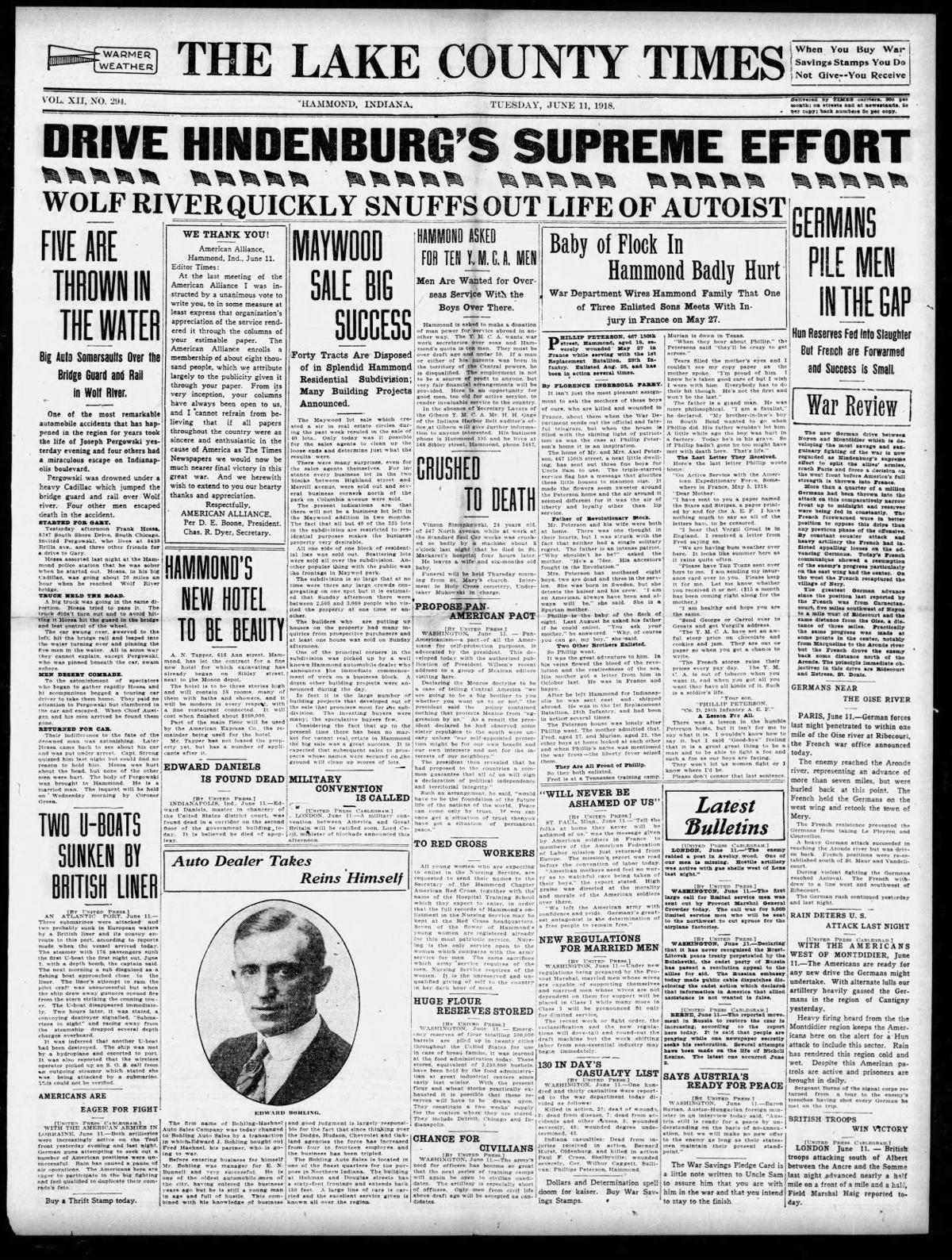 June 11, 1918: Hammond's New Hotel To Be Beauty