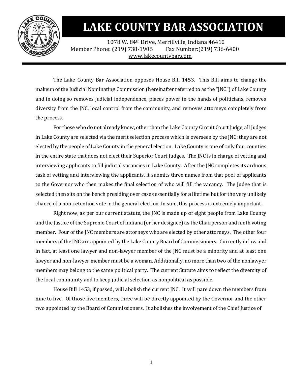 Lake Co. Bar Association statement on House Bill 1453