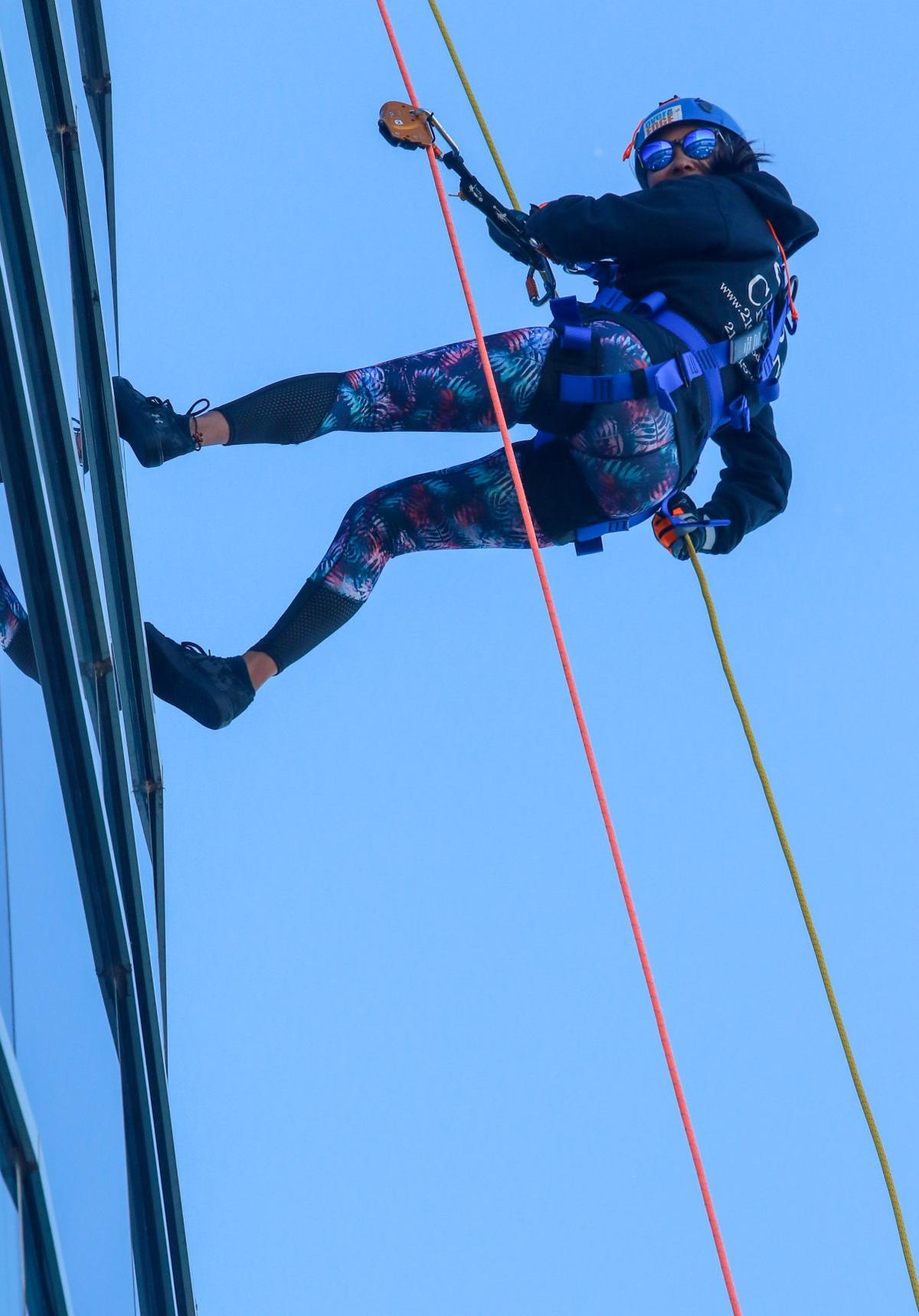 Rappelling off the Centier Tower
