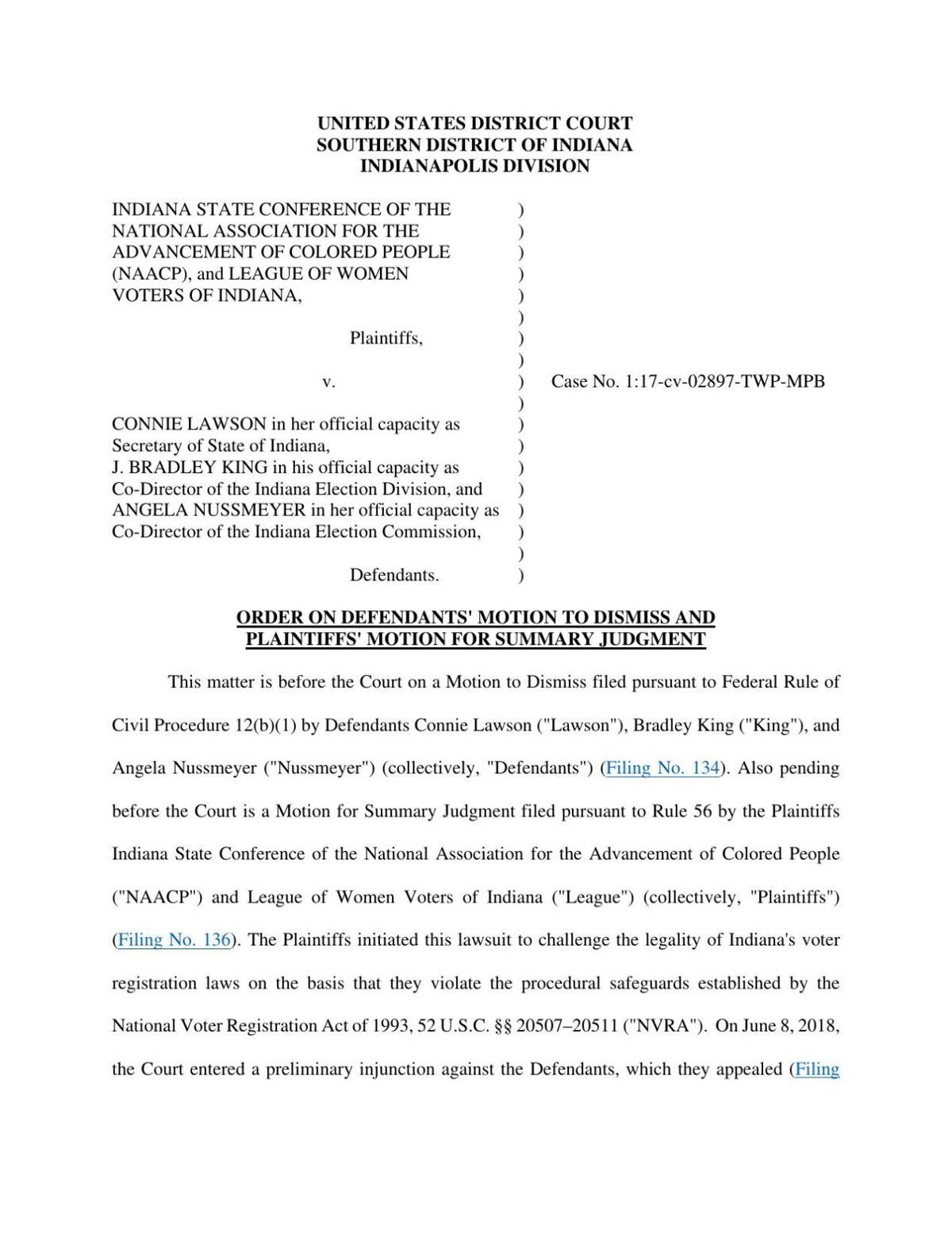 Indiana NAACP v. Lawson ruling of U.S. District Court
