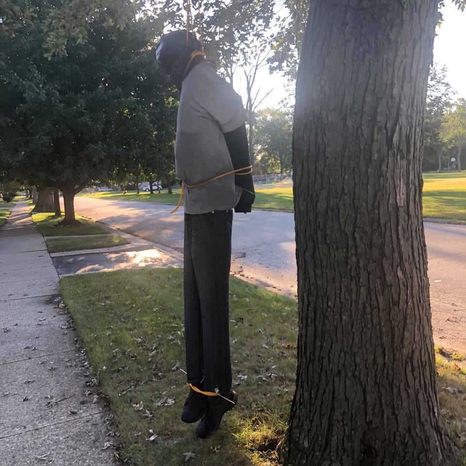 Halloween decoration or depiction of a lynching? Figure stirs controversy in Lansing
