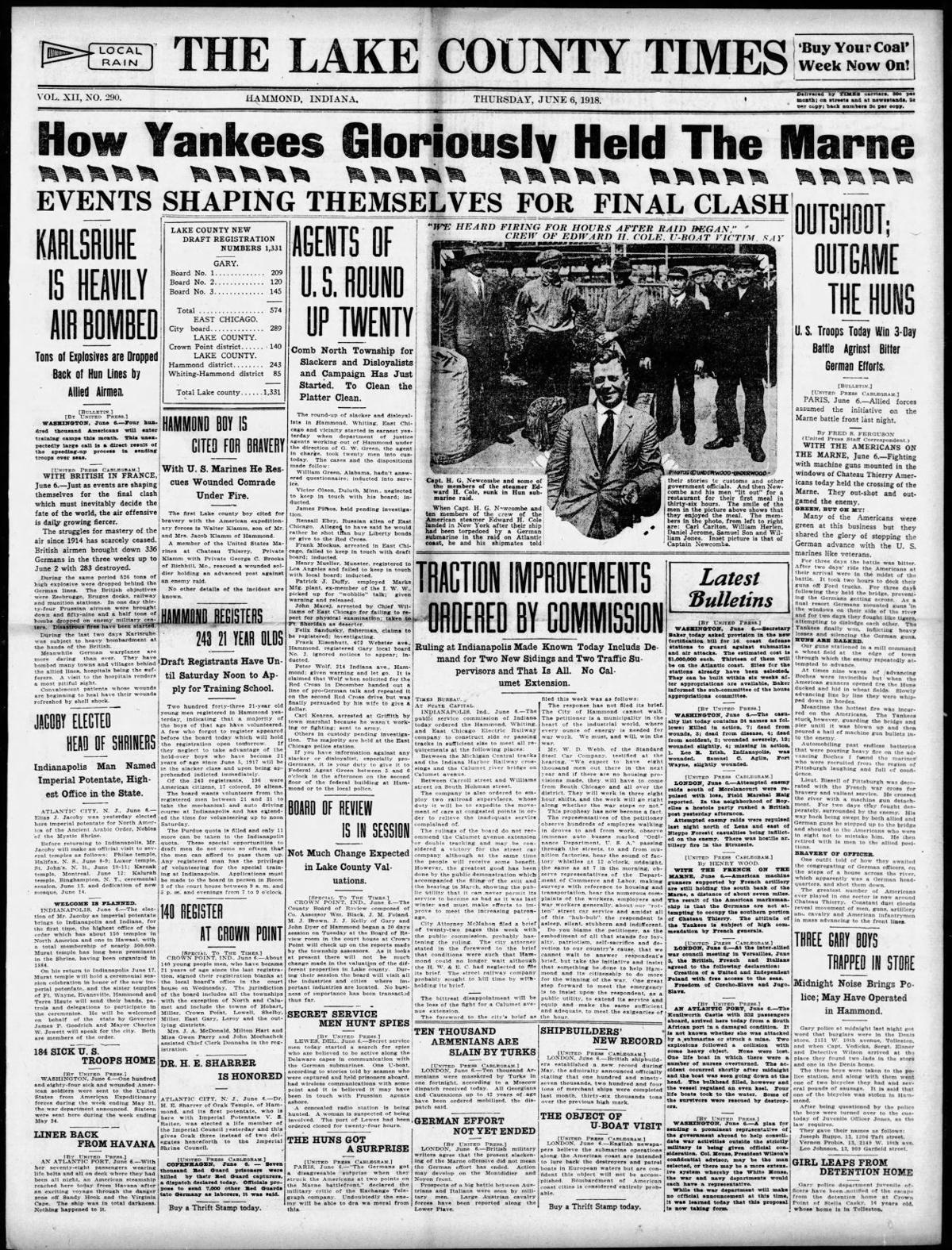 June 6, 1918: Three Gary Boys Trapped In Store