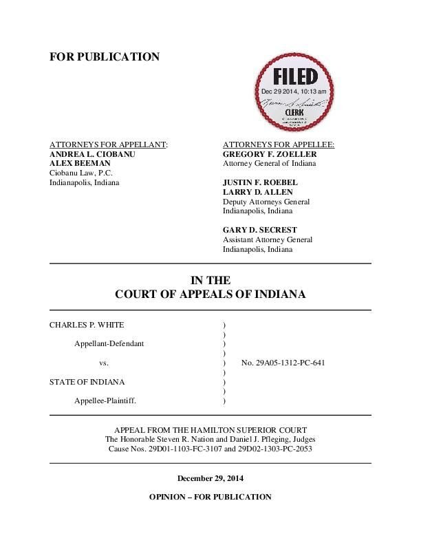 White v. State ruling of Indiana Court of Appeals