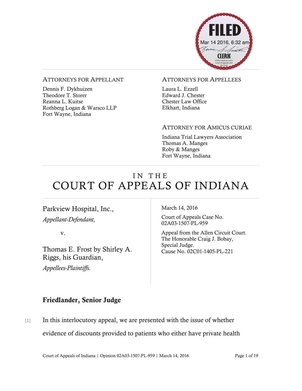 Indiana Supreme Court could take second look at health care