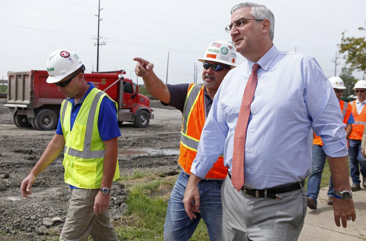 Eric Holcomb visits Calumet and 45th Avenue construction site