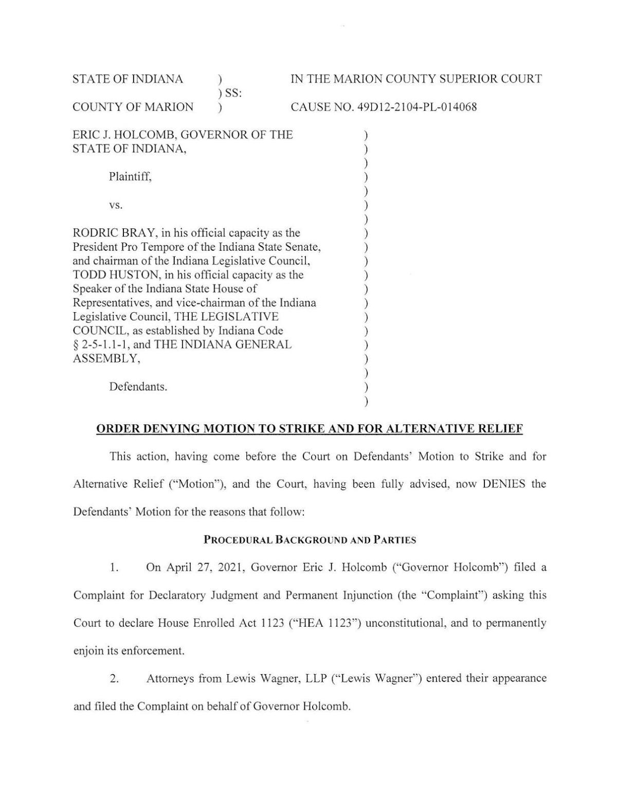 Holcomb v. Bray ruling of Marion Superior Court 12