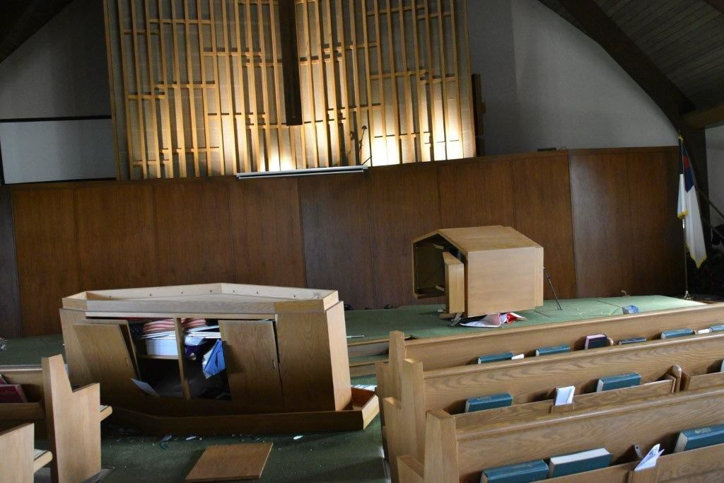 'We're having service'; Members keep faith after vandals trash Hammond church