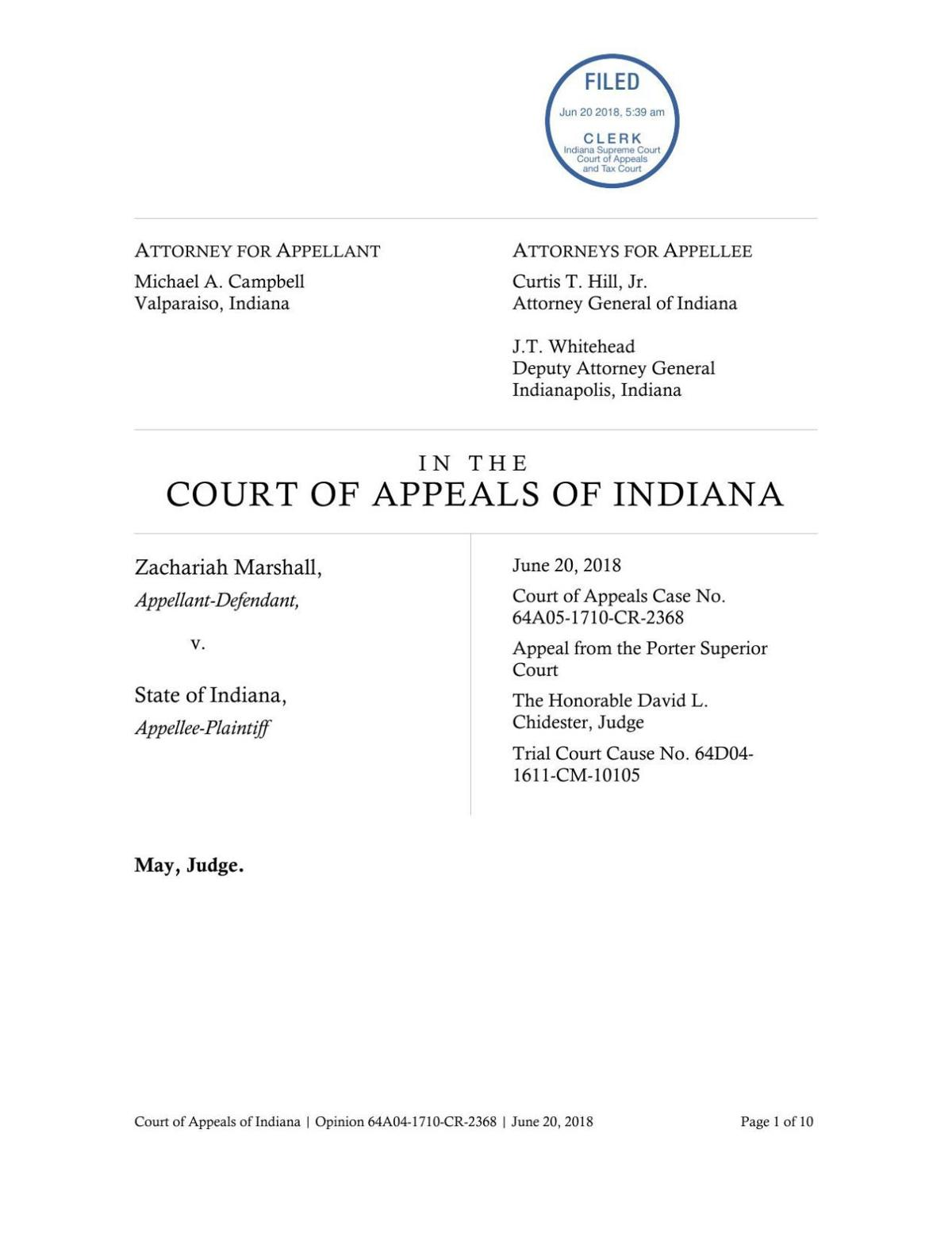 Marshall v. State ruling of Indiana Court of Appeals