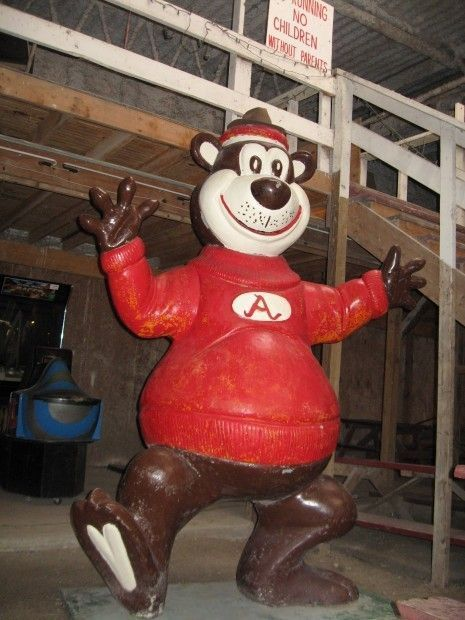 Fiberglass Dancing Bear from Sauzer's Kiddieland Now a Focal Point at DC's Country Junction in Lowell