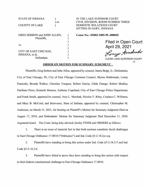 Final order in Serbon v. East Chicago 'Welcoming City' case