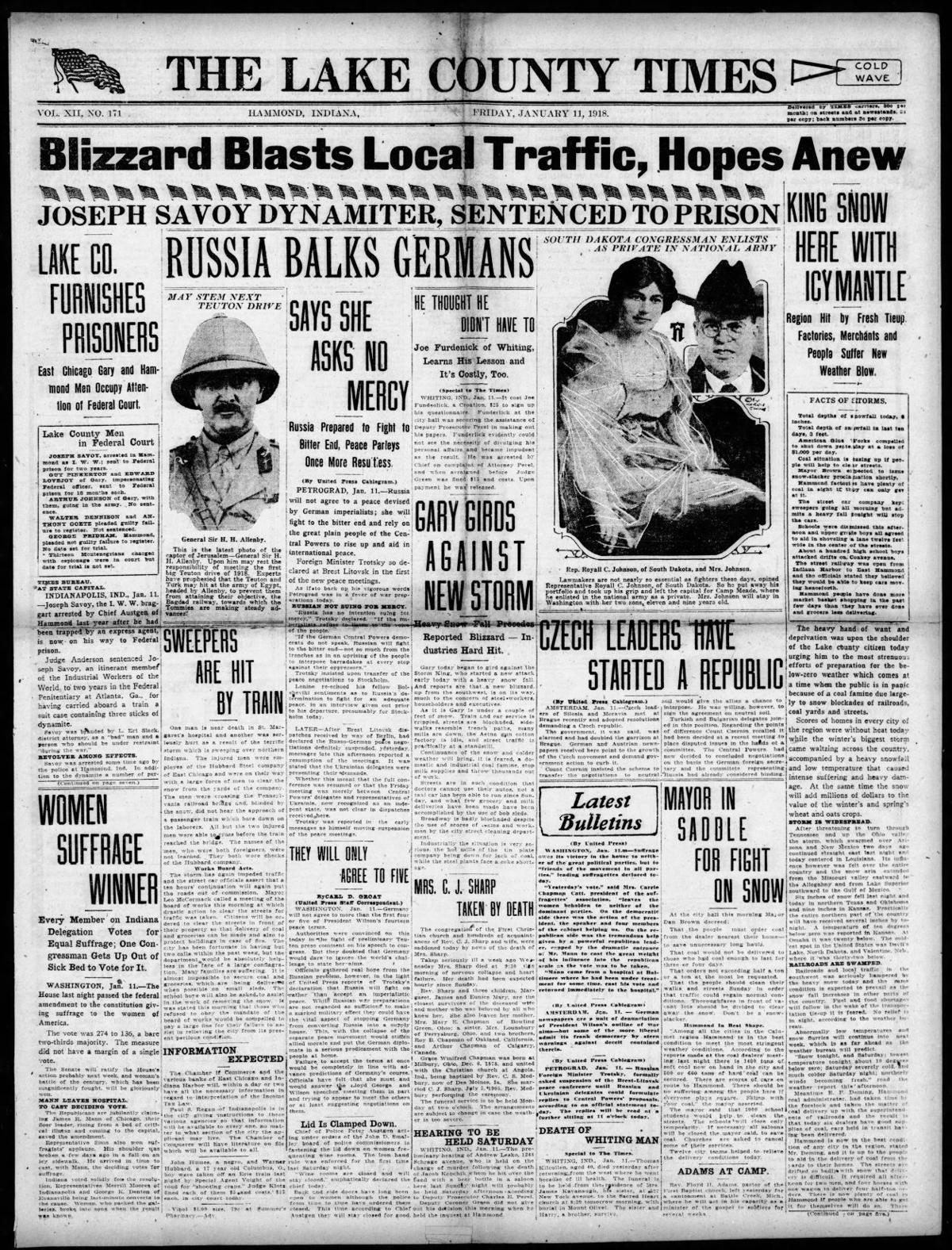 Jan. 11, 1918: Joseph Savoy Dynamiter, Sentenced to Prison