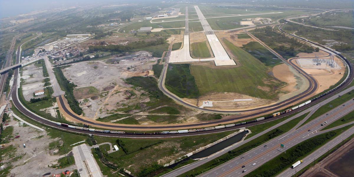 Aerial view of the Gary-Chicago International Airport with its newly extended runway.