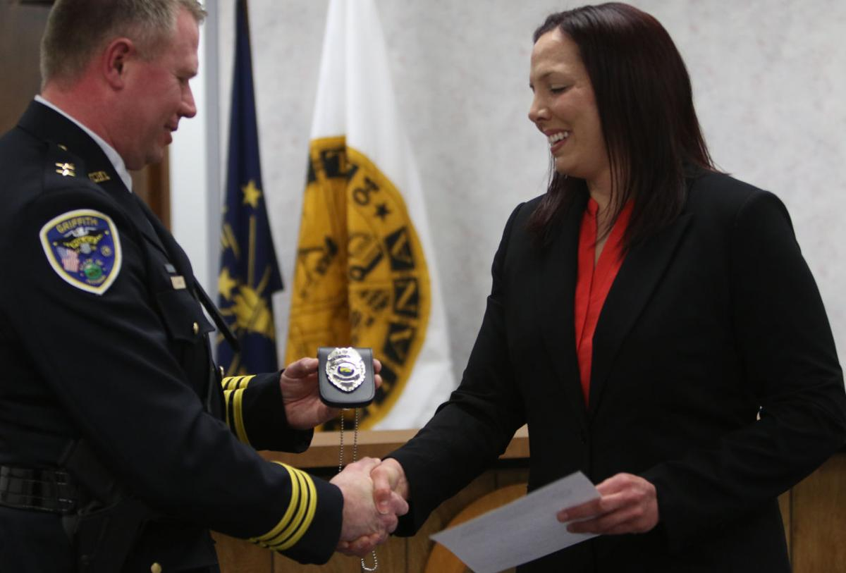Leslie Malerich is sworn in as Griffith's second female officer