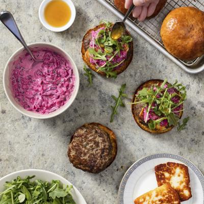Food Column ATK Lamb Burgers with Halloumi and Beet Tzatziki
