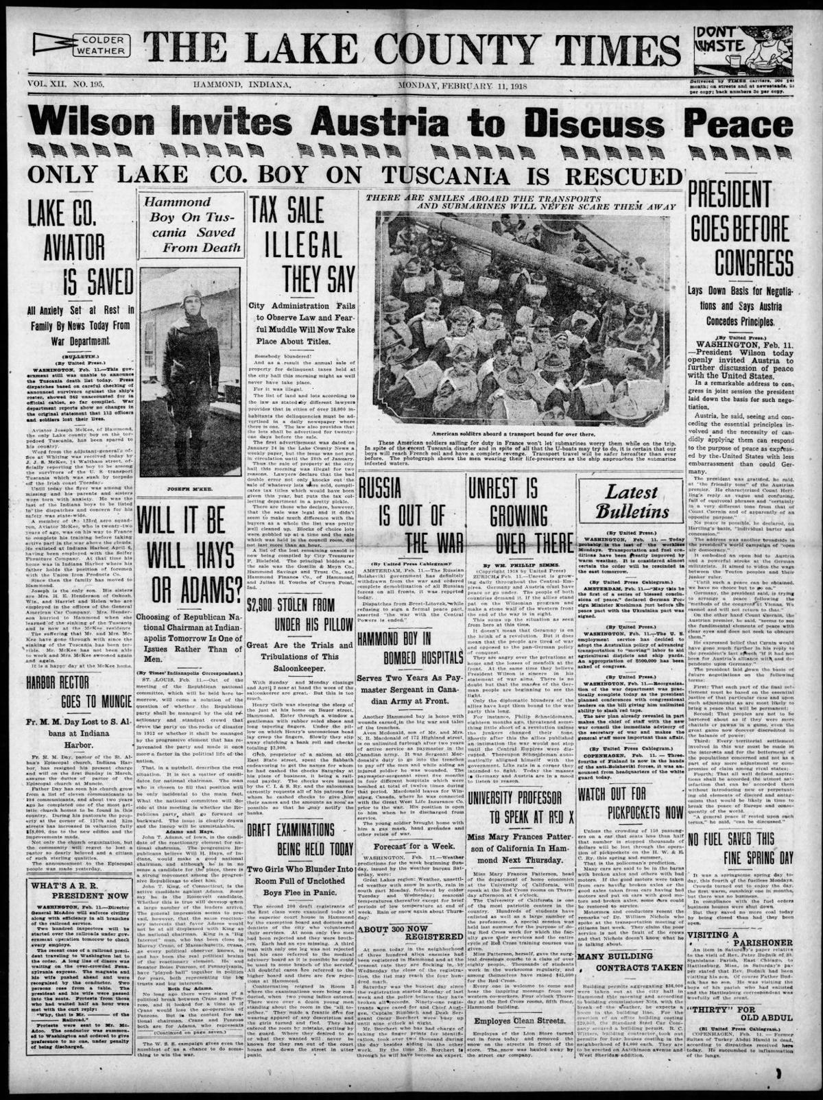 Feb. 11, 1918: Only Lake Co. Boy On Tuscania Is Rescued