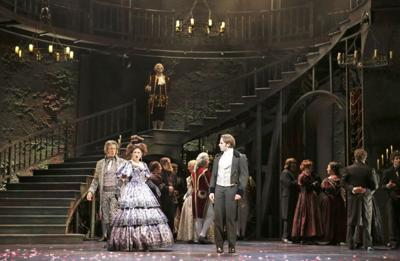 """George Keating and Marya Grandy as the Thenardiers and Devin DeSantis plays Marius in """"Les Misérables"""" at Paramount Theatre"""
