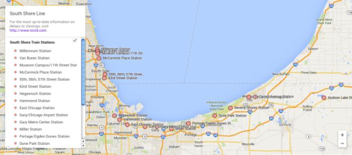 Map South Shore Line Metra Electric Line Digital Exclusives