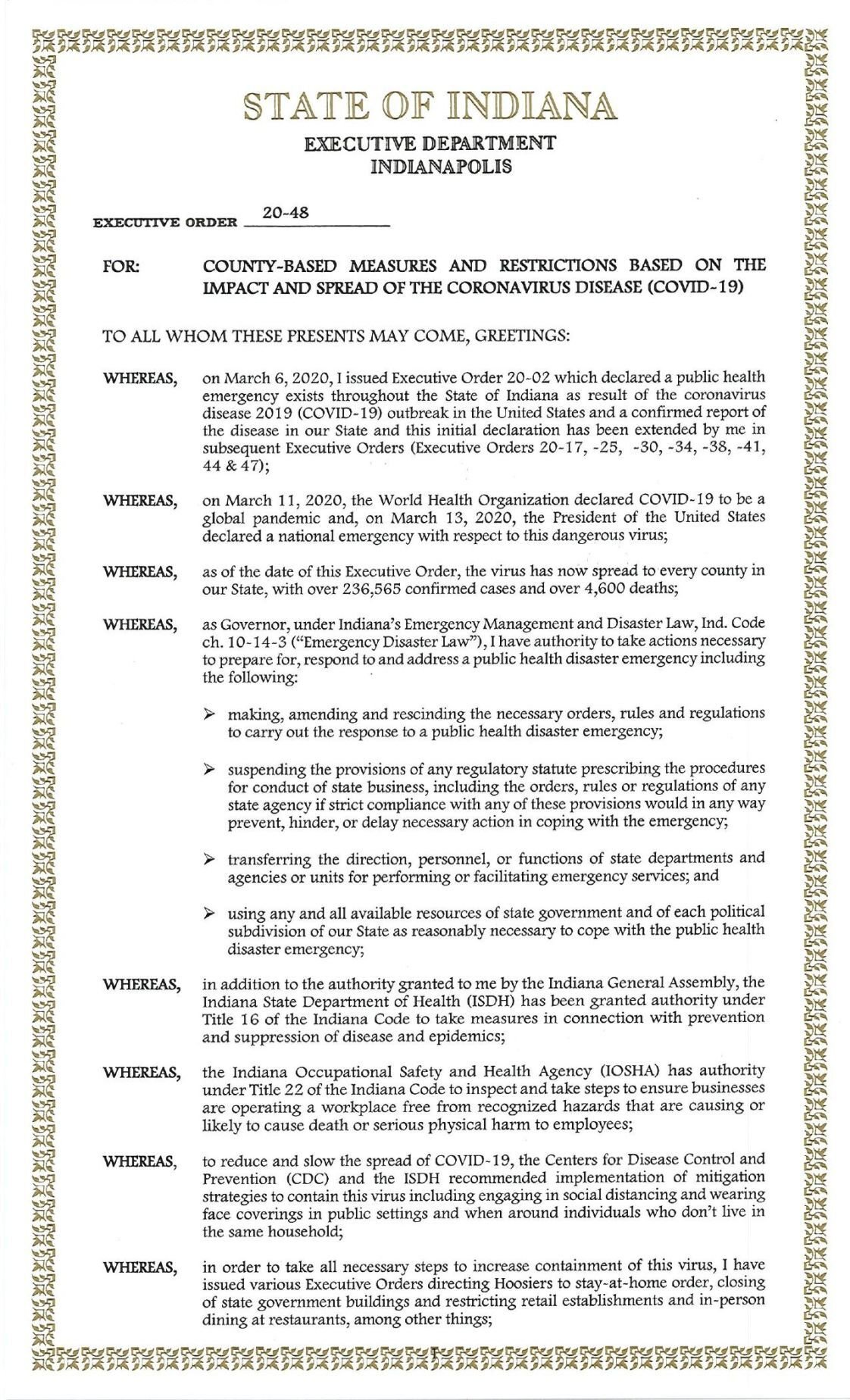 Gov. Eric Holcomb executive order 20-48