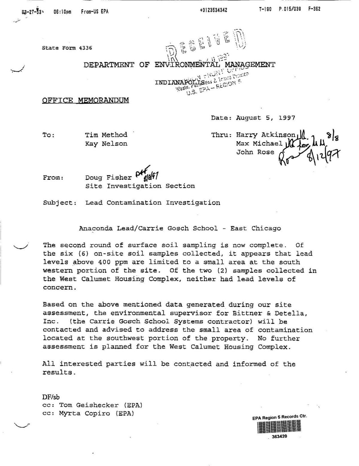 1997 IDEM memo about Carrie Gosch No. 1