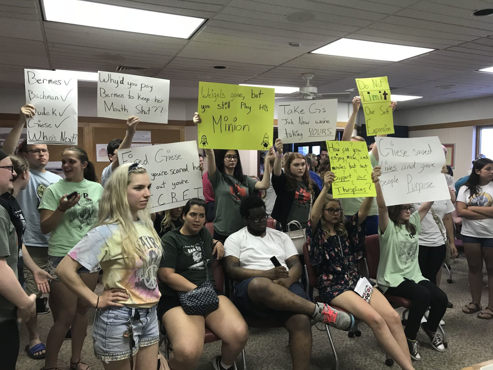 Portage students protest firing of high school