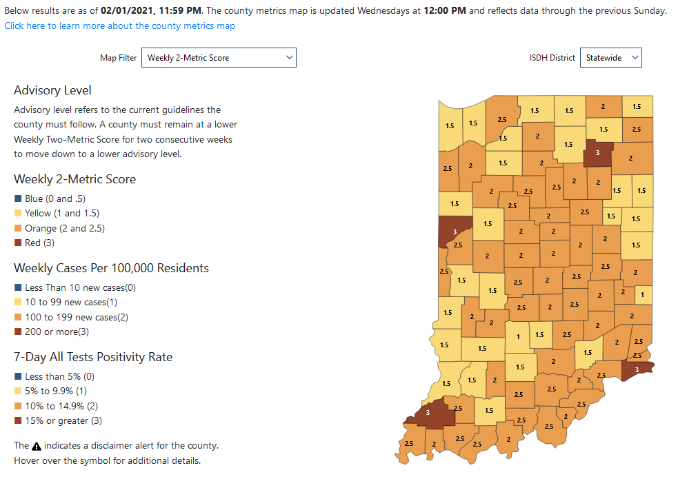 Indiana county COVID-19 ratings for week of Feb. 1, 2021