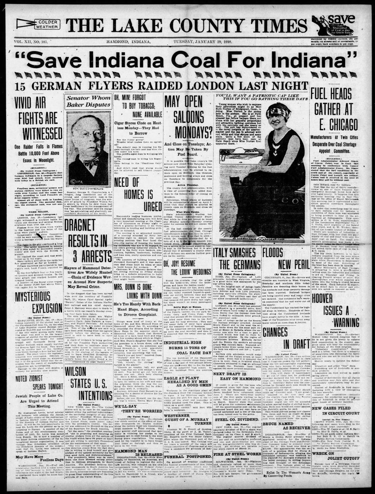 Jan. 29, 1918: 'Save Indiana Coal For Indiana'