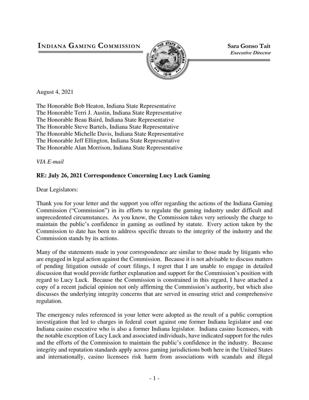 Indiana Gaming Commission response to lawmakers' letter