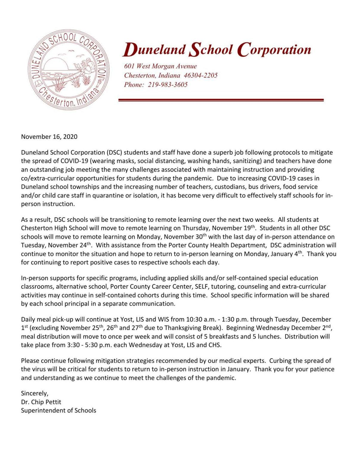 Duneland School Corp. transition to remote learning Nov. 16, 2020 letter