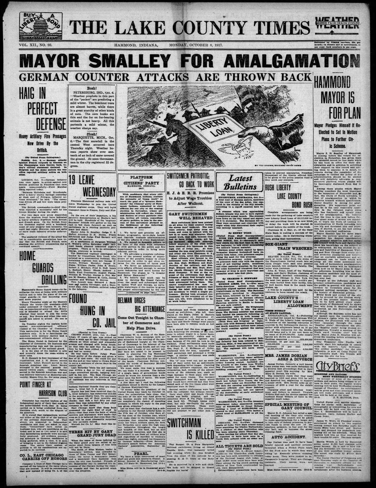 Oct. 8, 1917: Mayor Smalley For Amalgamation