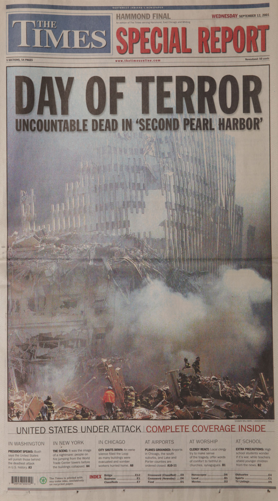 Sept. 12, 2001, front page