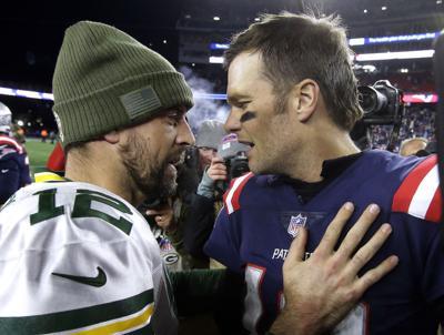 Aaron Rodgers, Tom Brady, 2018 AP file photo