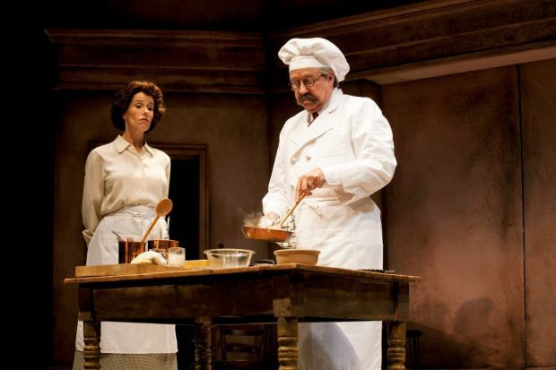 """Julia Child, Played by Karen Janes Woditsch, and Le Cordon Bleu Instructor Chef Max Bugnard, played by Terry Hamilton, in """"To Master the Art"""""""