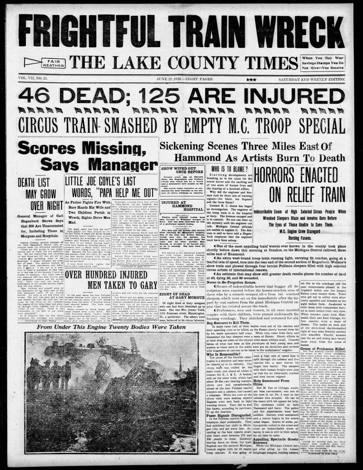 June 22, 1918: Frightful Train Wreck