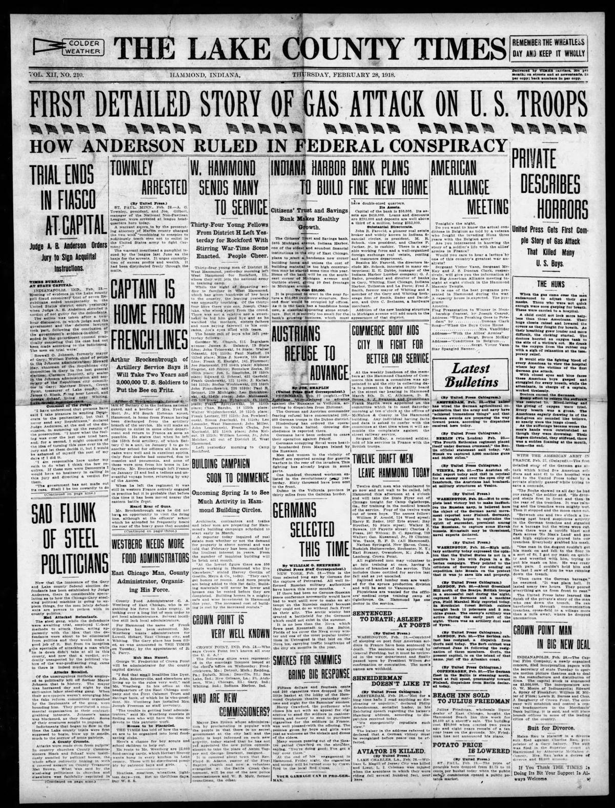 Feb. 28, 1918: First Detailed Story of Gas Attack on U.S. Troops
