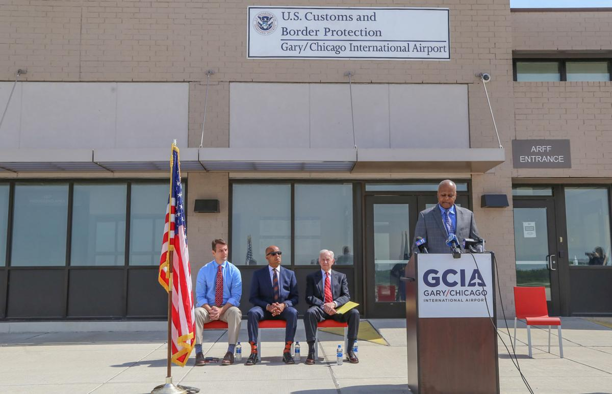 press conf: federal grant for Gary federal grant for airport infrastructure projects