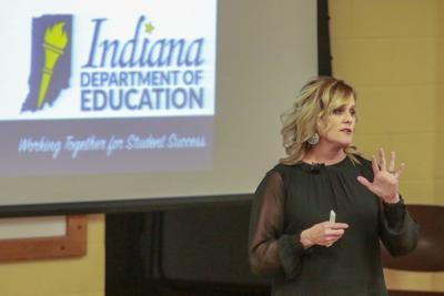 State Superintendent of Education Jennifer McCormick speaks at Merrillville High School