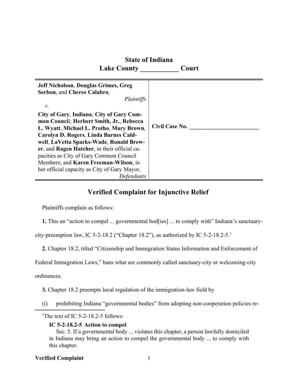 Nicholson, et. al, v. Gary, et. al. lawsuit filed in Lake Circuit Court
