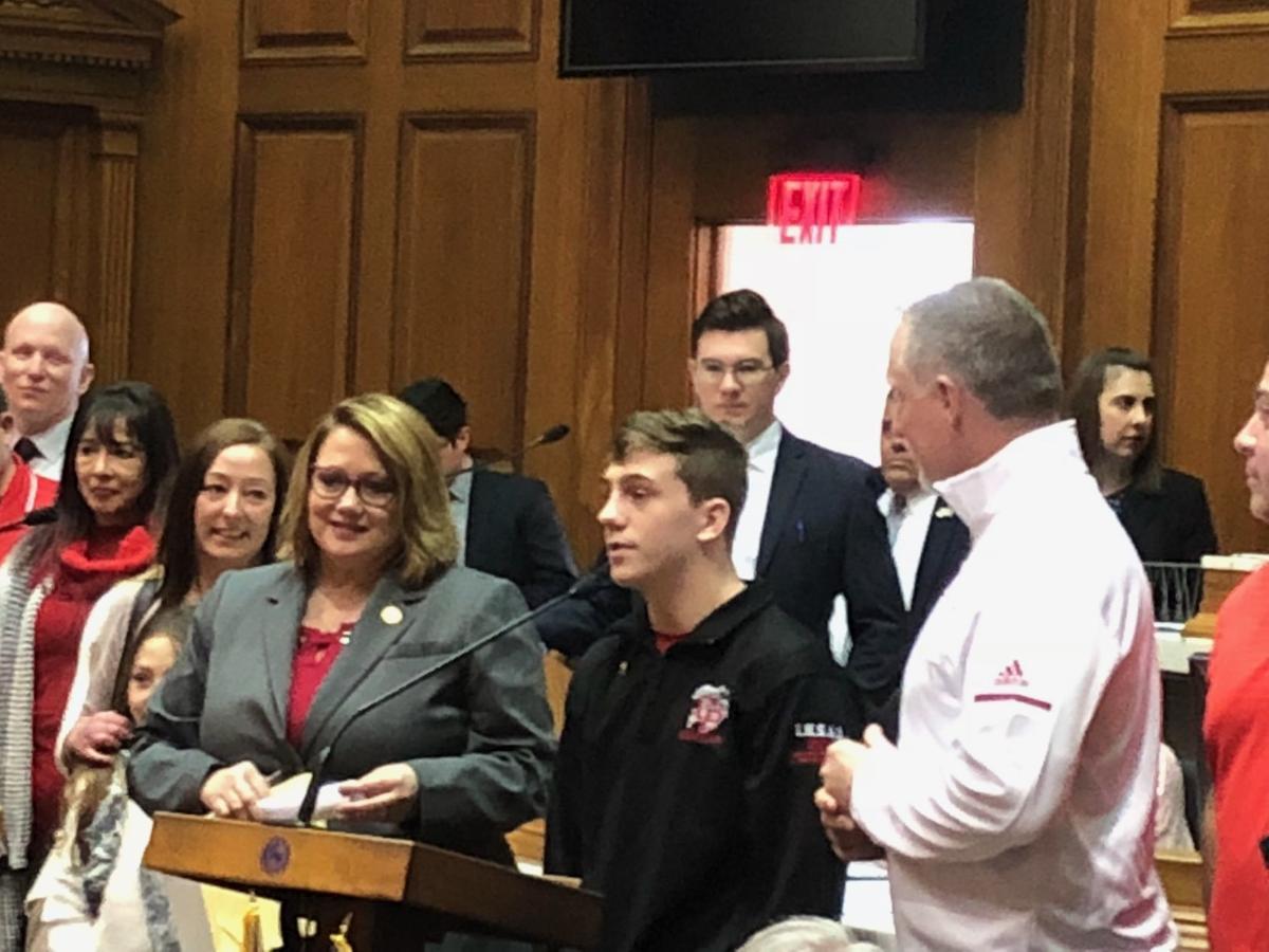 Champion high school wrestler honored by Hoosier lawmakers
