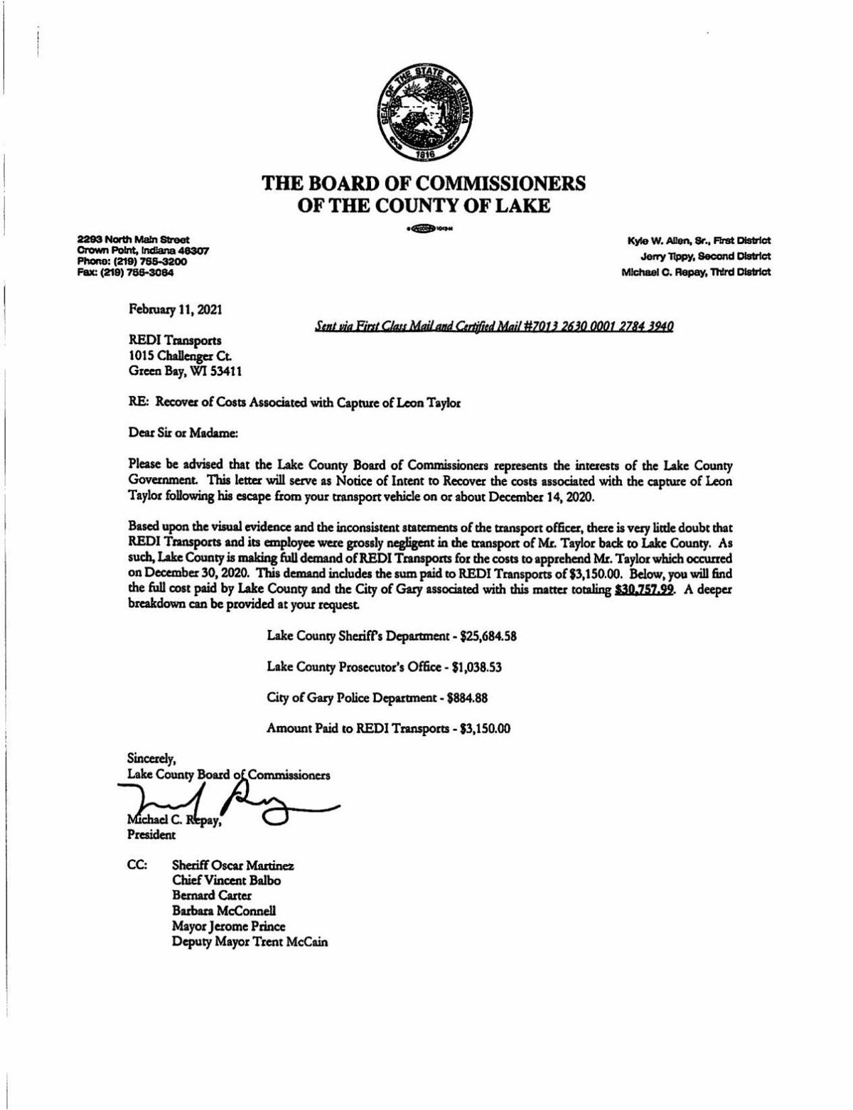 Lake County repayment demand letter to REDI Transports