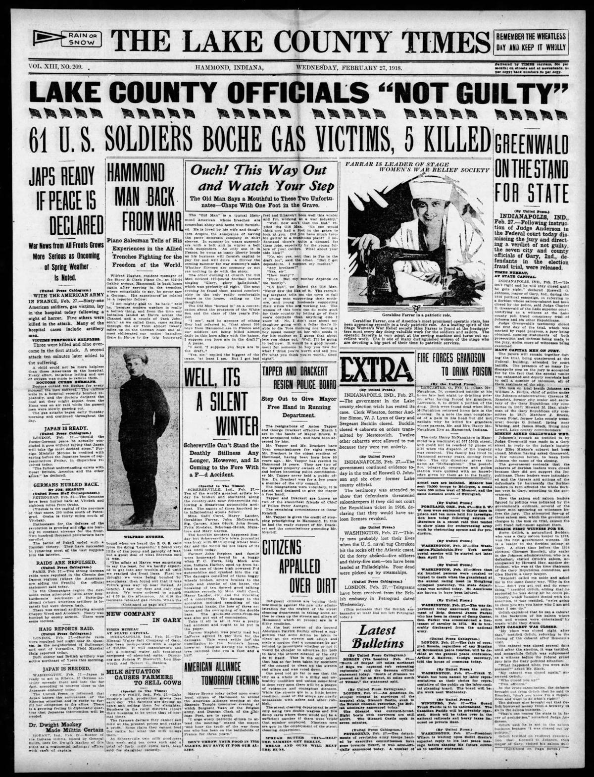 Feb. 27, 1918: 61 U.S. Soldiers Boche Gas Victims, 5 Killed